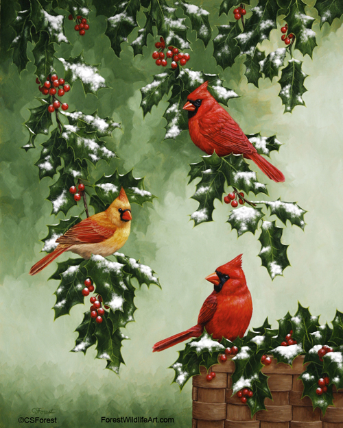Oil painting of northern cardinals on a holly branch, by wildlife artist Crista Forest. ForestWildlifeArt.com Prints Available.