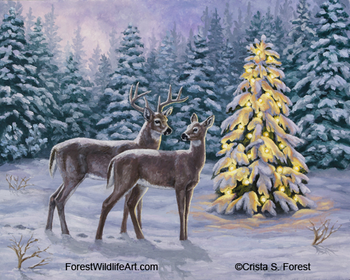 Oil painting of whitetail deer and Christmas tree in snow by wildlife artist Crista Forest, ForestWildlifeArt.com.