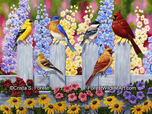 Oil painting a colorful birds and flowers by artist Crista Forest, ForestWildlifeArt.com. Fine Art Prints available