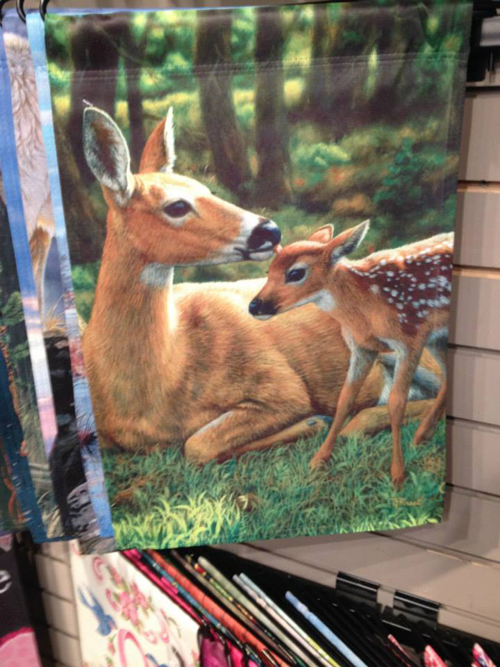 garden flag painting doe & fawn by wildlife artist Crista Forest, ForestWildlifeArt.com. Fine Art Prints available