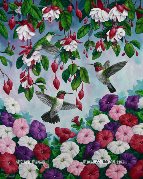 Oil painting of hummingbirds and flowers by wildlife artist Crista Forest