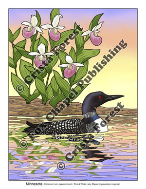 loon and ladyslipper flower coloring page