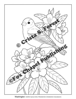 goldfinch and rhododendron coloring page