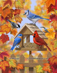 birds and bird feeder painting