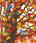 birds in maple tree painting