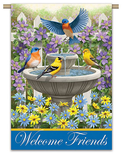 birds in bird bath garden flag