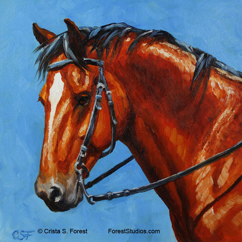 Bay horse mini painting