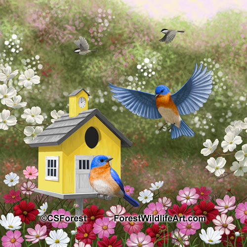 Eastern Bluebirds and cute schoolhouse birdhouse