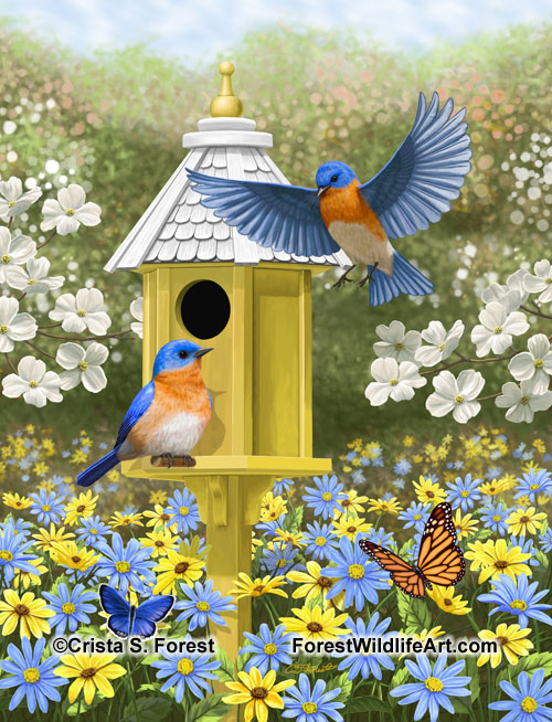 Bluebirds and tall yellow birdhouse