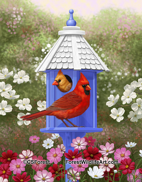 Spring cardinals and blue birdhouse