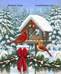 cardinals and Christmas garland painting