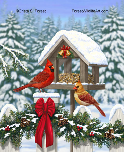Christmas Cardinals and decorated bird feeder