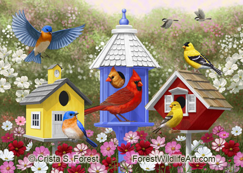 Colorful birds and cute birdhouses