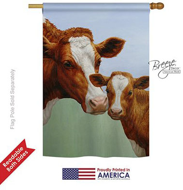 cow and calf garden flag