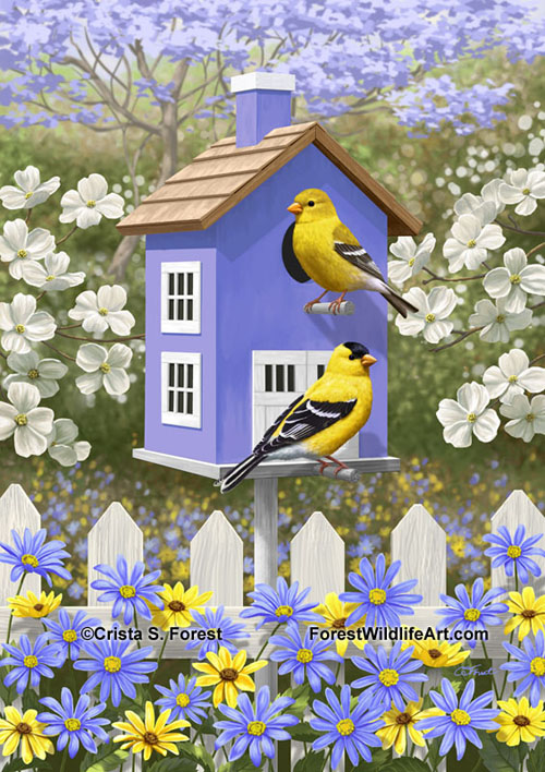 American goldfinches and violet birdhouse