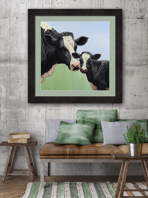 Holstein cow & calf painting