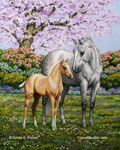 mare and foal horse painting