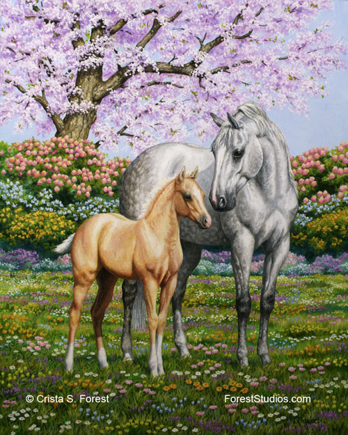 Mare and foal quarter horses painting