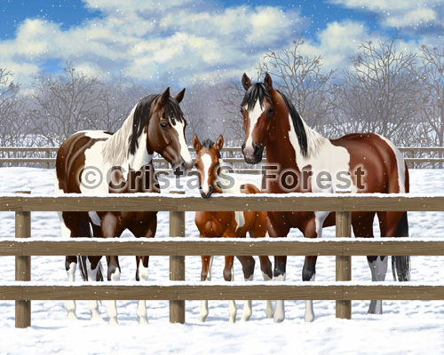 Bay Pinto Horses In Snow Painting