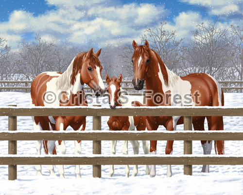 Chestnut Pinto Horses In Snow Painting