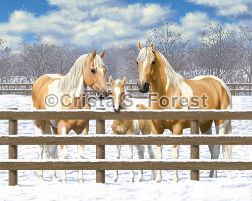 Palomino Pinto Horses In Snow Painting