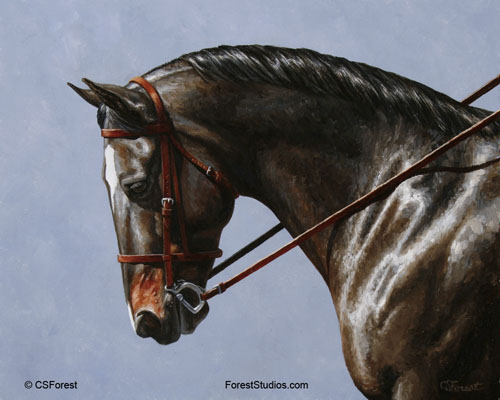 Seal Brown Dressage Horse painting by Crista S. Forest