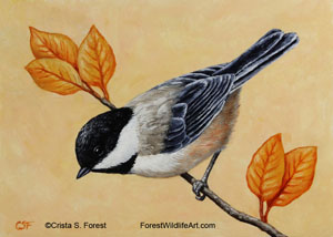 Chickadee & Autumn Leaves image