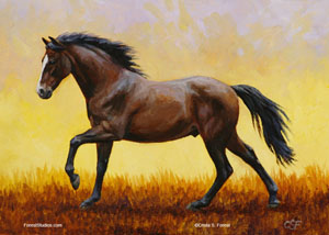 dark bay horse painting