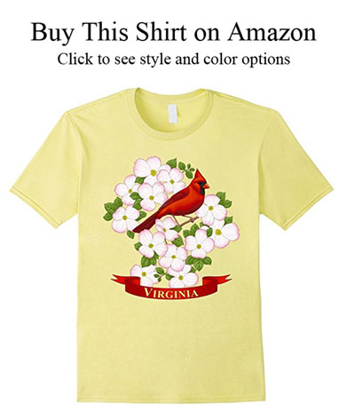 Virginia state cardinal and flowering dogwood shirts