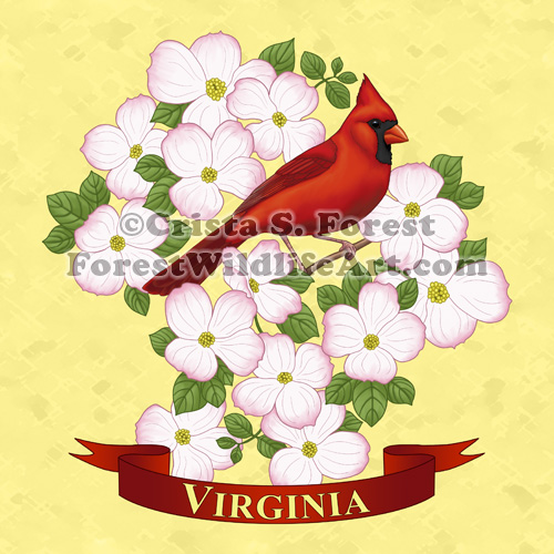Virginia State Cardinal Bird & Dogwood Flower