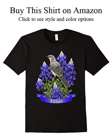 Texas state mockingbird and Bluebonnet lupine wildflower shirts