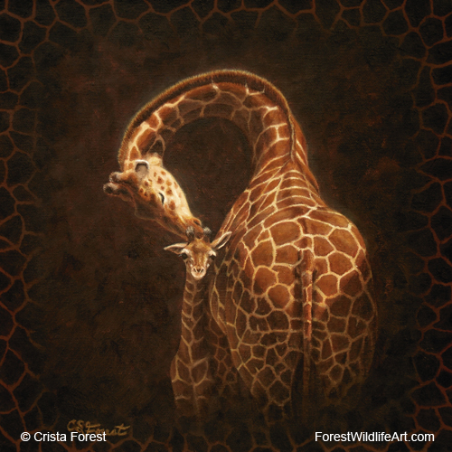 Oil painting of a giraffe and baby by wildlife artist Crista Forest, ForestStudios.com. Fine Art Prints available