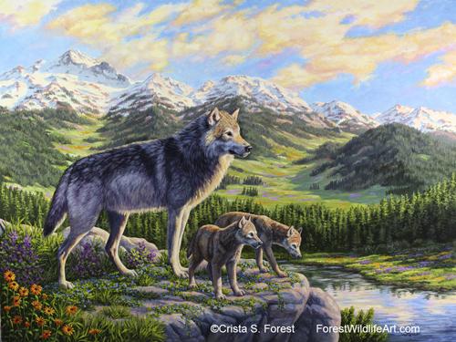 Oil painting of a mother wolf and pups by wildlife artist Crista Forest, ForestStudios.com. Fine Art Prints available